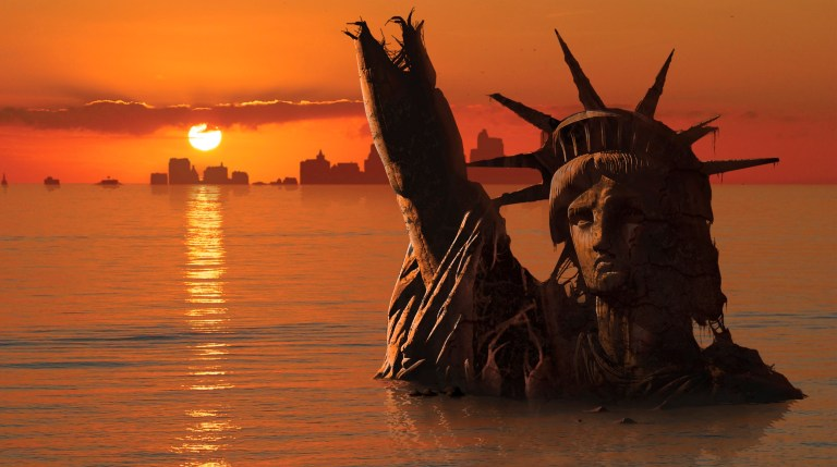 Global warming, conceptual computer illustration. Statue of Liberty, New York, USA, flooded and in ruins, in a possible future. This is showing a rise in sea levels due to global warming. Global warming is the increase of average temperature of the Earth's atmosphere and oceans. The melting of ice and glaciers contribute to the rise in sea levels.