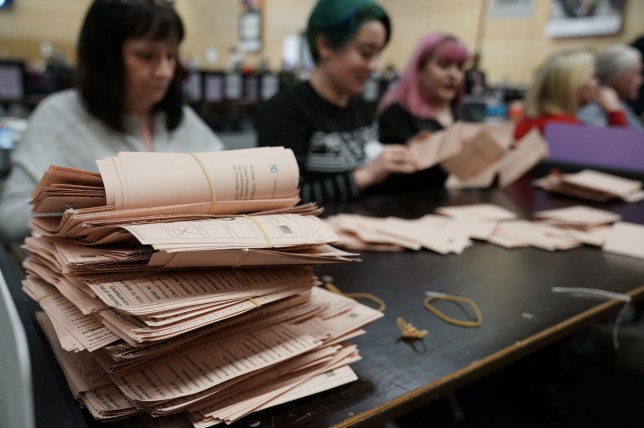 Ballots are counted at Northumbria University's Sports Central in Newcastle for the 2019 General Election. PA Photo. Picture date: Thursday December 12, 2019. See PA story POLITICS Election. Photo credit should read: Owen Humphreys/PA Wire