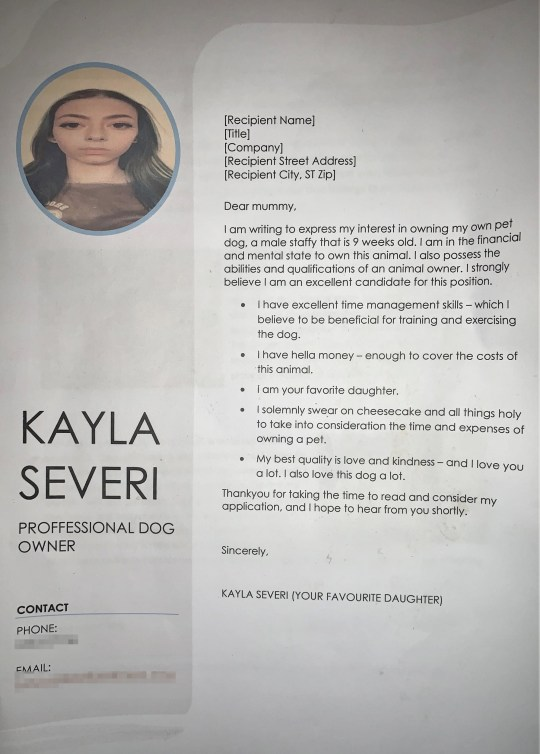 A screenshot of Kayla Severi's CV, that she submitted to her mum with the hopes of getting a puppy for Christmas