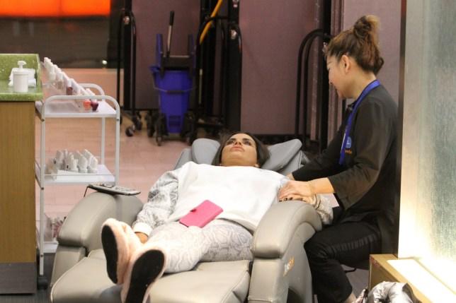 Katie Price and her boyfriend Kris Boyson seen getting a massage at JFK