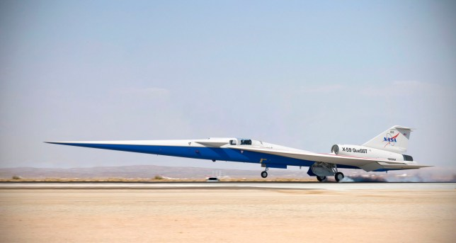 """This undated illustration released by NASA on December 16, 2019 shows the completed X-59 QueSST landing on a runway at Edwards Air Force Base, California. - NASAs first large scale, piloted X-plane in more than three decades is cleared for final assembly and integration of its systems following a major project review by senior managers held Thursday at NASA Headquarters in Washington. NASAs first large scale, piloted X-plane in more than three decades is cleared for final assembly and integration of its systems following a major project review by senior managers held December 12, 2019 at NASA Headquarters in Washington,DC. The management review, known as Key Decision Point-D (KDP-D), was the last programmatic hurdle for the X-59 Quiet SuperSonic Technology (QueSST) aircraft to clear before officials meet again in late 2020 to approve the airplanes first flight in 2021. (Photo by Jet FABARA / NASA / AFP) / RESTRICTED TO EDITORIAL USE - MANDATORY CREDIT """"AFP PHOTO /NASA/LOCKHEED MARTIN/JET FABARA/HANDOUT """" - NO MARKETING - NO ADVERTISING CAMPAIGNS - DISTRIBUTED AS A SERVICE TO CLIENTS (Photo by JET FABARA/NASA/AFP via Getty Images)"""