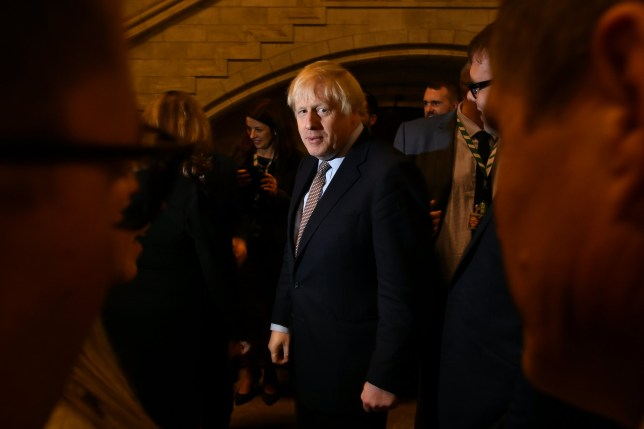 LONDON, ENGLAND - DECEMBER 16: UK Prime Minister greets newly-elected Conservative MPs at the Houses of Parliament on December 16, 2019 in London, England. Boris Johnson called a General Election to break the parliamentary deadlock over Brexit and was rewarded with a clear majority of 80. He welcomes 109 new Conservative MPs to Parliament. They will be sworn in as MPs on Tuesday 17th December. (Photo by Leon Neal/Getty Images)