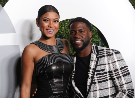 Kevin Hart pictured with his wife