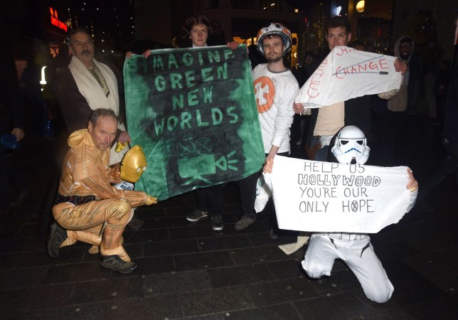 Extinction rebellion protestors get thrown out of the Star Wars Premiere