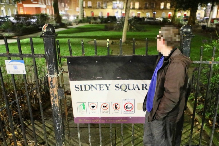 ***DO NOT IDENTIFY*** Homeless man who slept in Whitechapple Square beforfe finding his feet with new job and accomodation with the Help of St Mungo's charity.