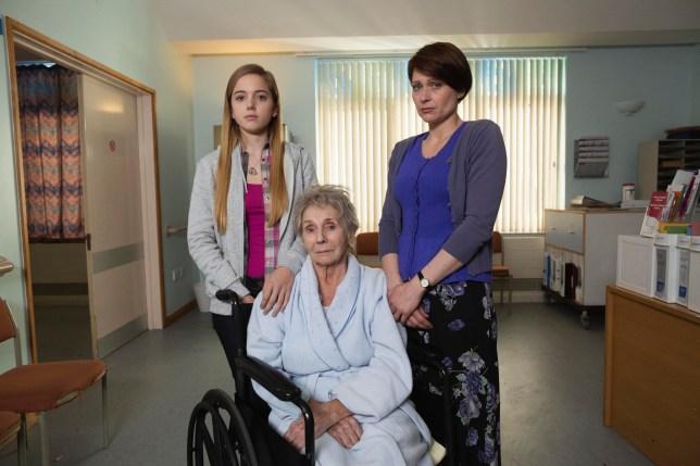 Laura (Hannah Rae), Bella (Sue Johnston) and Julie (Sian Brooke).