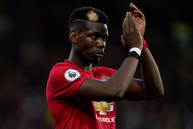 Manchester United's Paul Pogba reacts at the end of the English Premier League soccer match between Manchester United and Watford