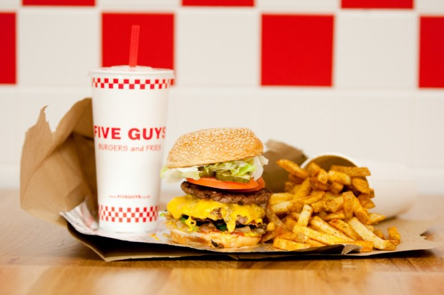 Cheese burger and chips meal with a drink from Five Guys