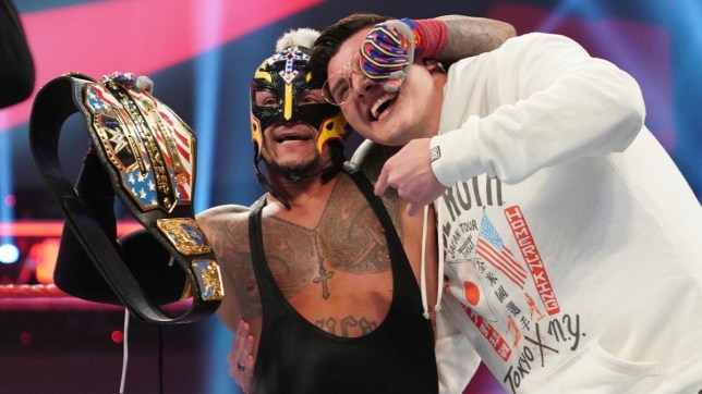 Rey Mysterio celebrates with his son Dominik