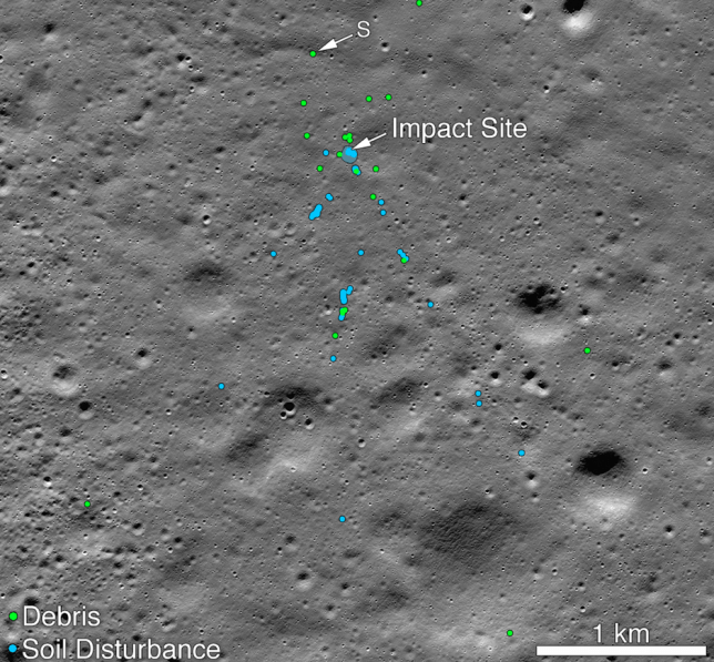 A view of the crash site. The letter 'S' indicates the debris first identified by Shanmuga Subramanian (Image: Nasa)
