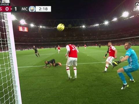Arsenal fans blame Sead Kolasinac for ducking Kevin De Bruyne's goal for Manchester City