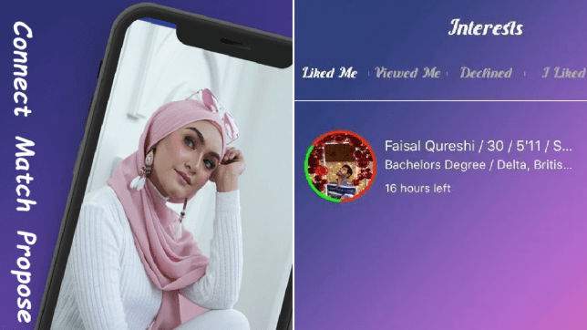 Muslim dating app screen