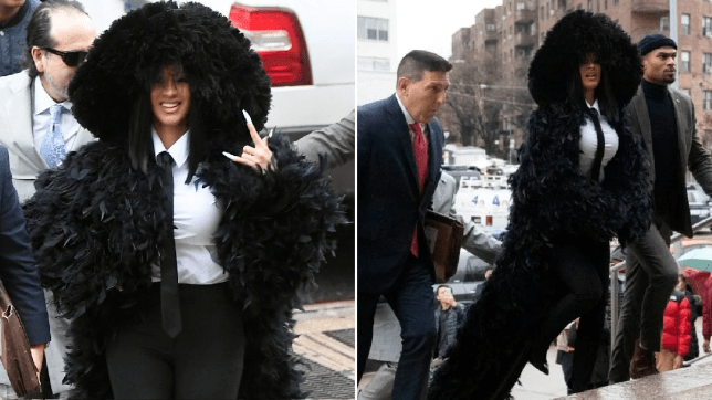 Cardi B makes fashion statement in all the feathers for New York court appearance over alleged strip club fight