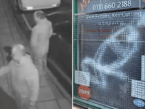 Middle-aged vandals caught spray painting penises on family business