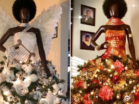 Woman celebrates being cancer free by creating Christmas trees with black mannequins