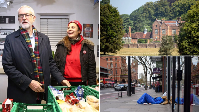 Jeremy Corbyn visiting homeless volunteers (left) a picture of Prime Minister's official residence of Chequers and a rough sleeper in London