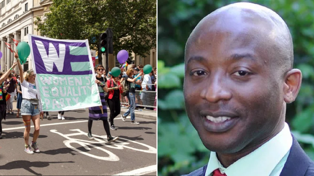 Women's Equality Party demonstrators (left) and Hackney Council by-election candidate Kofo David