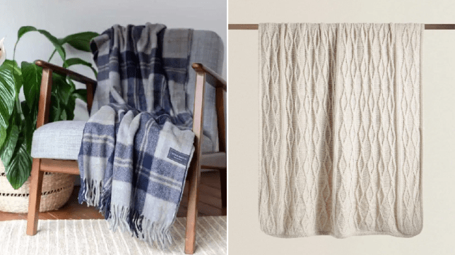 Split image of a blanket from The Tartan Blanket Co, draped over a chair, and a blanket from Zara, hanging from a shelf