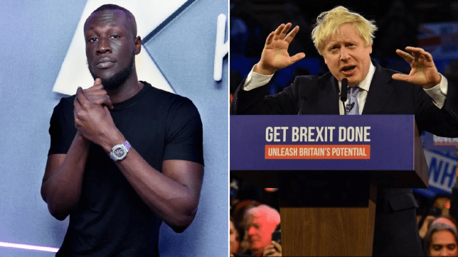 Stormzy claps back to homophobic slurs with Boris Johnson's columns after admitting he's never voted