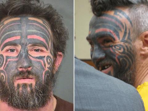 Sex predator with face tattoos won't be tried in horrific rape case after victim dies