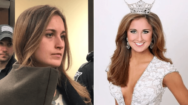 Photo of Ramsey Bearse in court next to photo of her after she was crowned Miss Kentucky