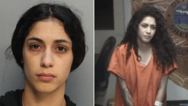Mugshot of Irabelis Carrazana next to grab of her in court