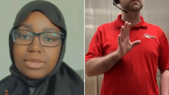 Photo of Folake Adebola in her hijab next to grab of boss telling her she can't wear it at work