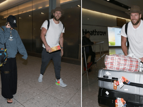 I'm A Celeb's James Haskell arrives back in UK with Chloe Madeley after separating from 'jungle wife' Caitlyn Jenner