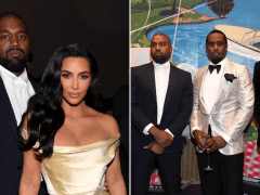 Kanye West and Kim Kardashian glam up for Diddy's 50th birthday party