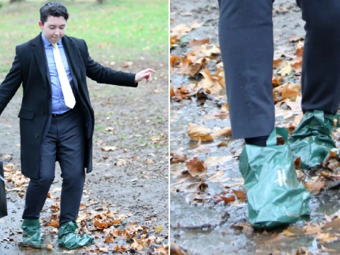 The Apprentice's Ryan-Mark Parsons avoids mud by wrapping Harrods bags around shoes