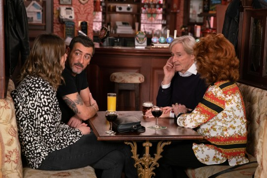 Ken Barlow [WILLIAM ROACHE] and Claudia Colby [RULA LENSKA] summon Peter Barlow [CHRIS GASCOYNE] and Tracy McDonald [KATE FORD] at the Rovers