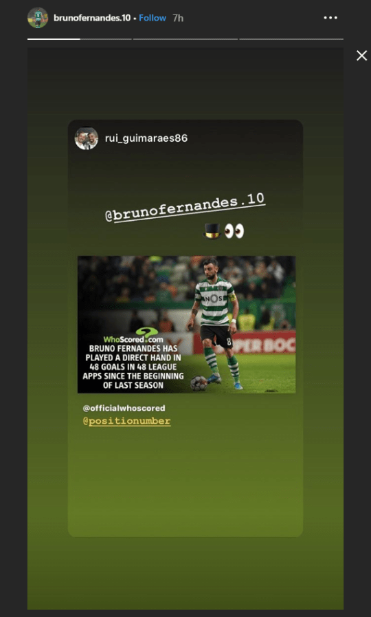 Screenshot of Bruno Fernandes Instagram story about a transfer story