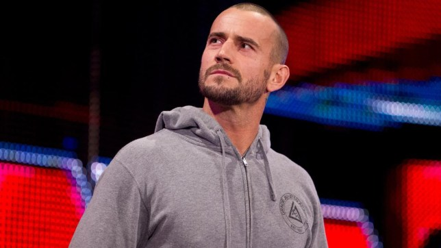WWE wrestler CM Punk poses for the Raw crowd