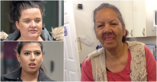 Abana Arshad (left) and Amy Greenhalgh (right) chucked pebbles at their patients in a care home in Salford (Pictures: Cavendish Press)