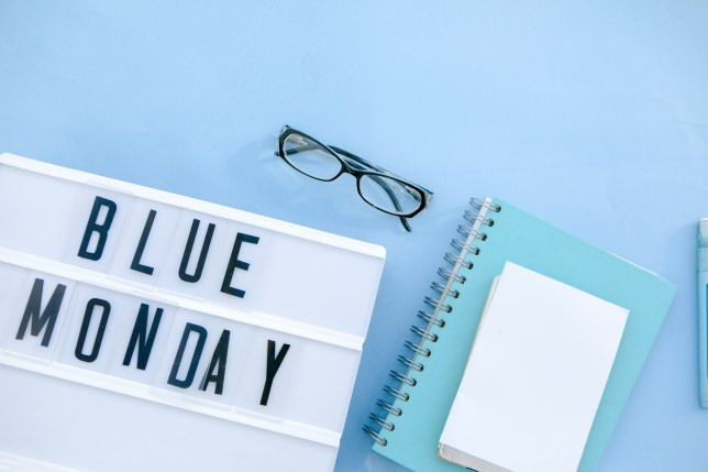 Lightbox with the words 'Blue Monday' on it