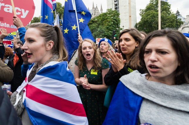 Women at an anti-Brexit march in London