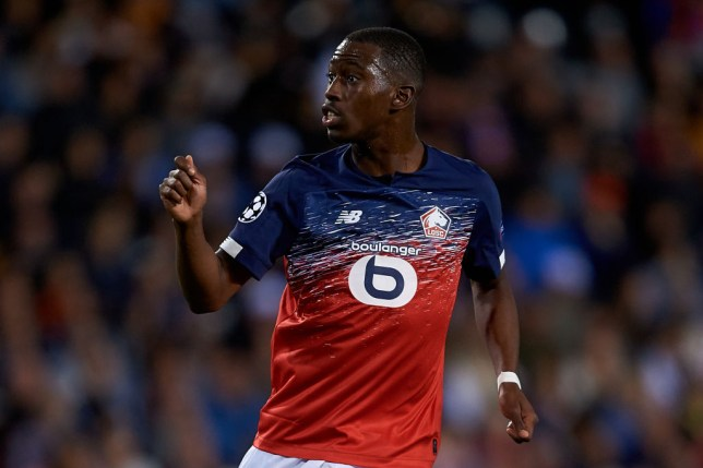 Boubakary Soumare gestures to his Lille team-mates