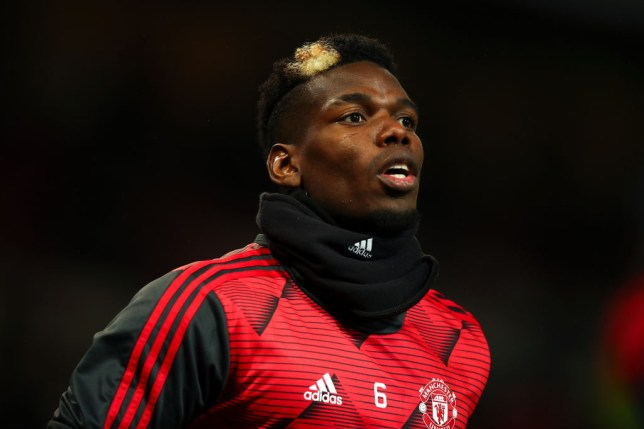 Paul Pogba of Manchester United warms up during the Premier League match between Manchester United and Newcastle United at Old Trafford on December 26, 2019 in Manchester, United Kingdom.
