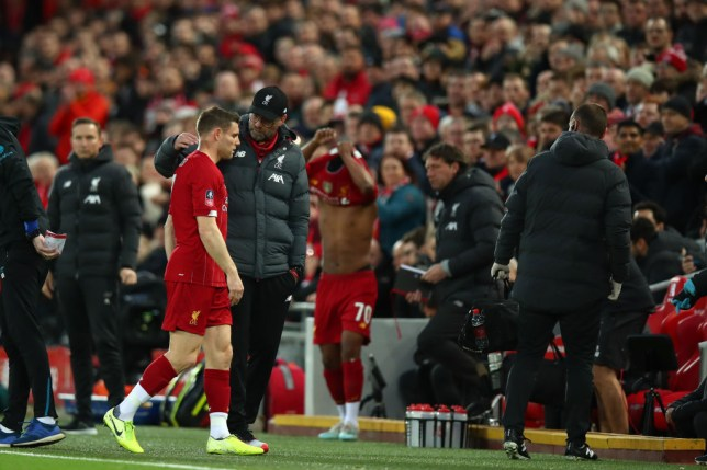 James Milner was forced off with a muscle injury during Liverpool's FA Cup win over Everton