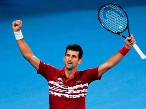 Novak Djokovic reacts after Serbia beat Rafael Nadal's Spain to win inaugural ATP Cup