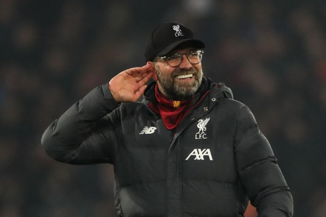 Jurgen Klopp the head coach / manager of Liverpool celebrates at full time during the Premier League match between Liverpool FC and Manchester United at Anfield on January 19, 2020 in Liverpool, United Kingdom. (Photo by Matthew Ashton -