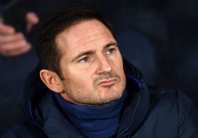 Frank Lampard grimaces from the Chelsea bench