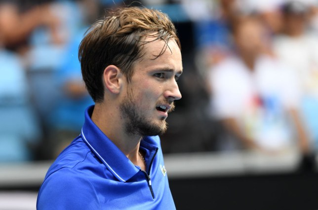 Daniil Medvedev of Russia in action against Stan Wawrinka (not seen) of Switzerland during men's singles match within 2020 Australian Open at Melbourne Park in Melbourne, Australia on January 27, 2020. Wawrinka won the match with 3-2.