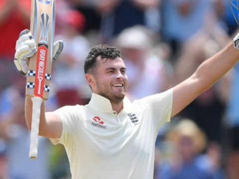 Beaming England opener Dom Sibley reacts after scoring maiden Test century against South Africa