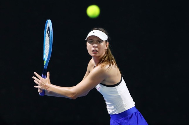 Maria Sharapova of Russia plays a forehand in her match against Jennifer Brady of the United States during day two of the 2020 Brisbane Internationa