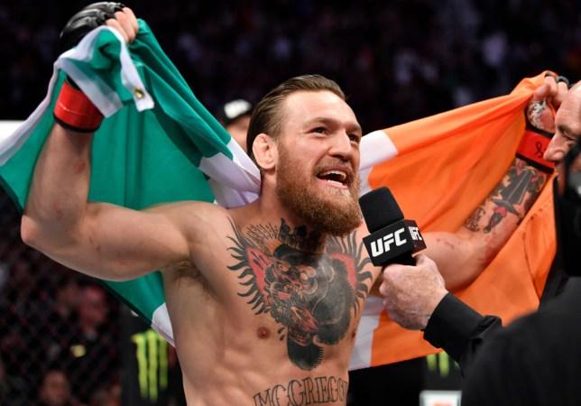 Conor McGregor speaks to Joe Rogan after winning his UFC fight