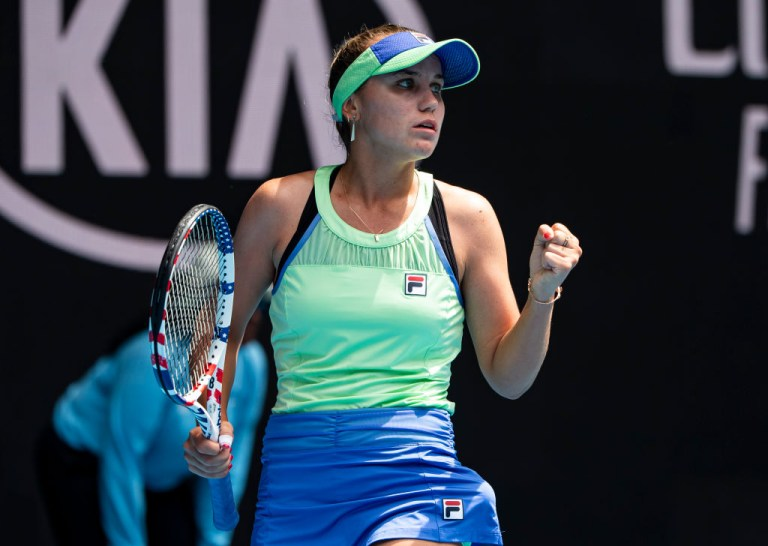 Sofia Kenin of the United States celebrates in her fourth round match against Coco Gauff of the United States on day seven of the 2020 Australian Open at Melbourne Park on January 26, 2020 in Melbourne, Australia.