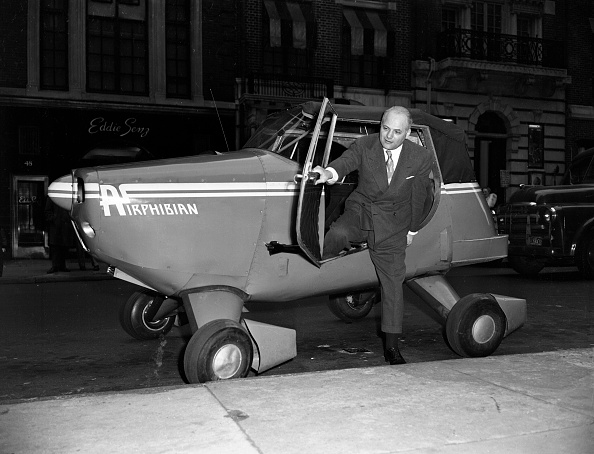 Fulton Airphibian prototype is driven to the offices of CBS