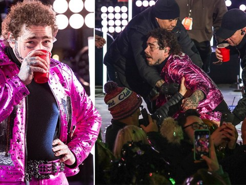 Post Malone given a helping hand by crew after falling into crowd during New Year's Eve performance – as he bonds with BTS