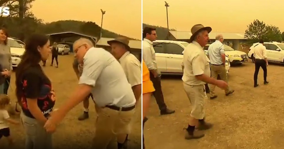 Red-faced Scott Morrison made a get away after residents hurled insults at him in a devastated town